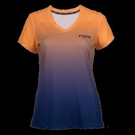 T-Shirt padel femme PRO orange Fluo bleu
